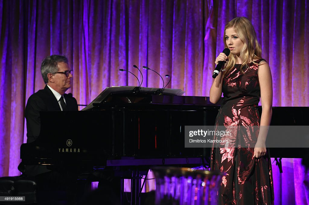 David Foster (L) and Jackie Evancho perform onstage during the Global Lyme Alliance 'Uniting for a Lyme-Free World' Inaugural Gala at Cipriani 42nd Street on October 8, 2015 in New York City.
