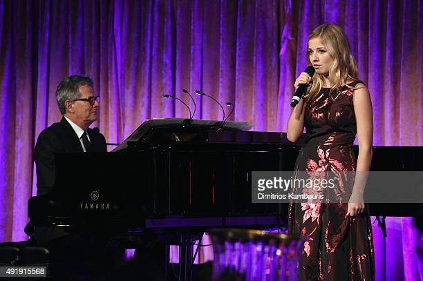 David Foster and Jackie Evancho perform onstage during the Global Lyme Alliance Uniting for a LymeFree World Inaugural Gala at Cipriani 42nd Street...