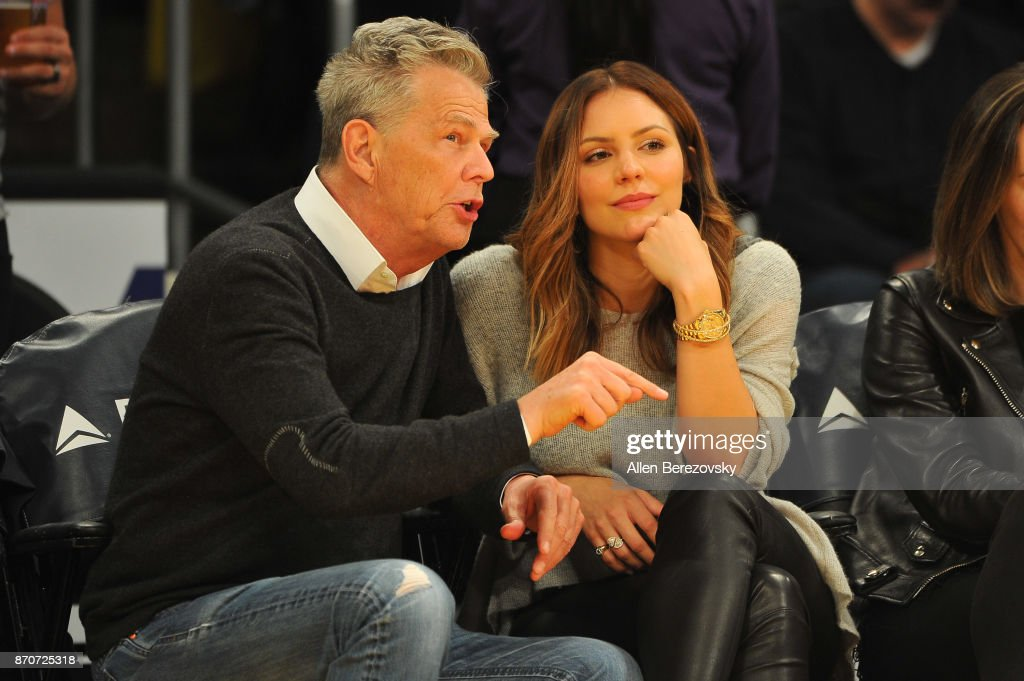 David Foster & Katharine McPhee paid attention to the on-court action during their date night at the Lakers game.