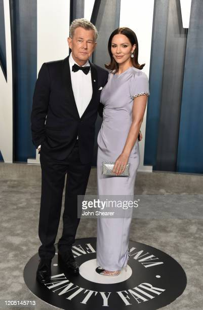 David Foster and Katharine McPhee attend the 2020 Vanity Fair Oscar Party hosted by Radhika Jones at Wallis Annenberg Center for the Performing Arts...