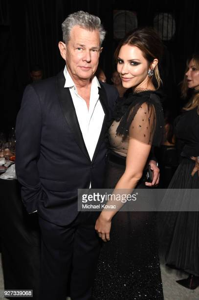 David Foster and Katharine McPhee attend the 26th annual Elton John AIDS Foundation Academy Awards Viewing Party sponsored by Bulgari celebrating...