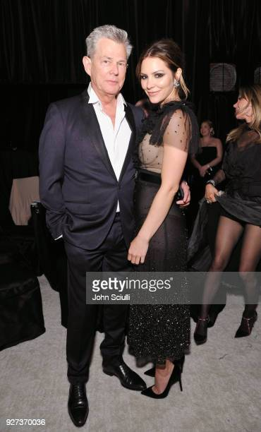 David Foster and Katharine McPhee attend the 26th annual Elton John AIDS Foundation Academy Awards Viewing Party at The City of West Hollywood Park...