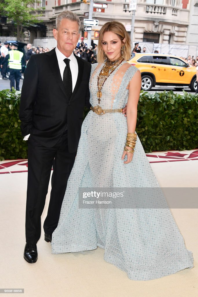David Foster and Katharine McPhee attend the Heavenly Bodies: Fashion & The Catholic Imagination Costume Institute Gala at The Metropolitan Museum of Art on May 7, 2018 in New York City.