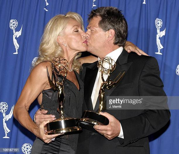 David Foster and Linda Thompson during The 55th Annual Primetime Creative Arts Emmy Awards Press Room at Shrine Auditorium in Los Angeles California...