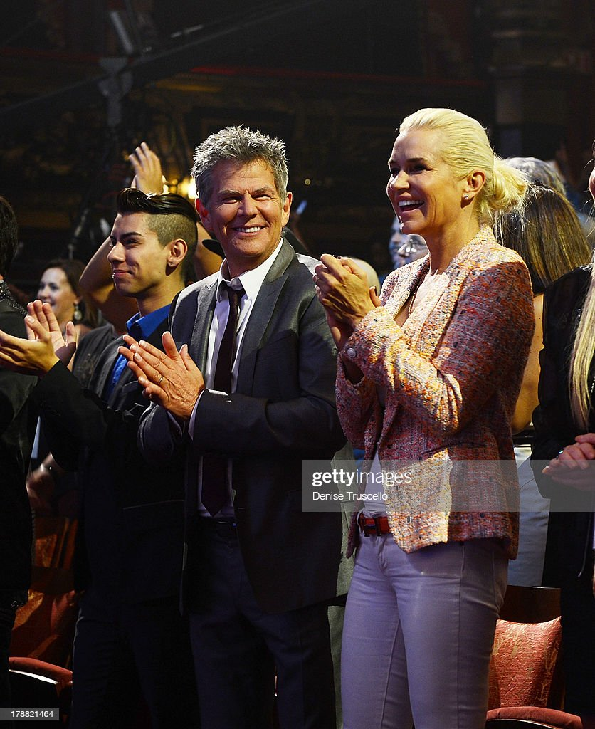 David Foster and Yolanda Foster attend Earth, Wind & Fire performance during debut of new CD For HSN Live broadcast special at The Venetian Las Vegas on August 30, 2013 in Las Vegas, Nevada.