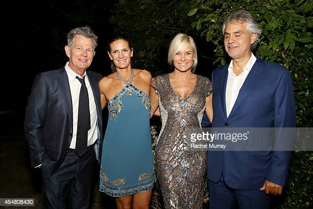 David Foster Veronica Berti Yolanda Foster and Andrea Bocelli attend an exclusive dinner at the Casa Cavalli estate celebrating Fight Night In Italy...