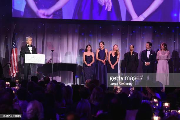 David Foster welcomes the 2018 Film Award Winners Samantha Lane Sarah Riazati Keely Kernan Anaiis Cisco Johnson Cheng and Jenna Caravello on stage...