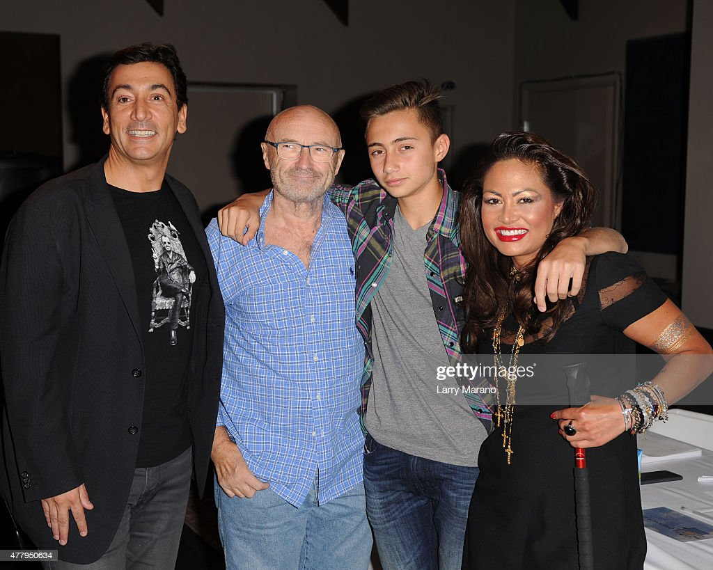 David Frangioni, Phil Collins, Nicholas Collins and Orianne Collins attend the Little Dreams Foundation auditions at Markee Studios on June 20, 2015 in Deerfield Beach, Florida.
