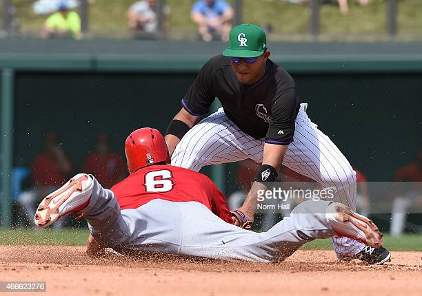 David Freese of the Los Angeles Angels of Anaheim is tagged out at second base by Christhian Adames of the Colorado Rockies during the fifth inning...
