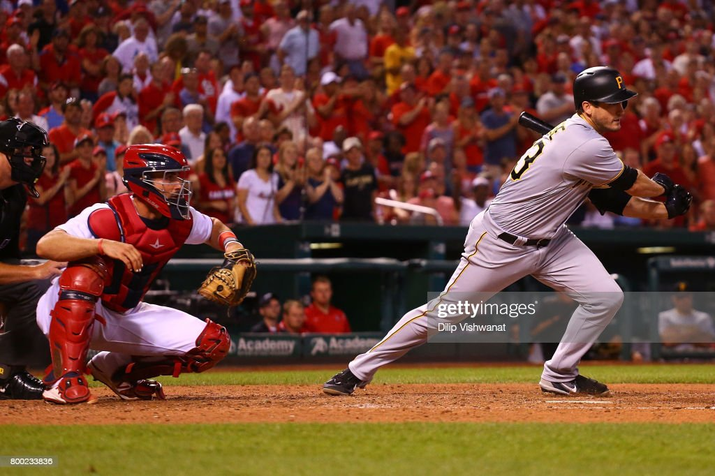 David Freese #23 of the Pittsburgh Pirates hits a game-tying RBI single against the St. Louis Cardinals in the eighth inning at Busch Stadium on June 23, 2017 in St. Louis, Missouri.