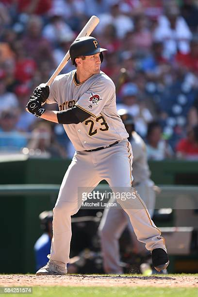David Freese of the Pittsburgh Pirates prepares for a pitch during a baseball game against the Washington Nationals at Nationals Park on July 17 2016...