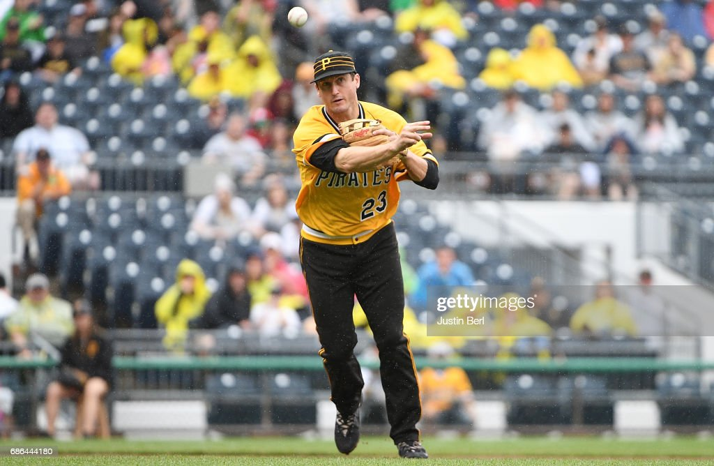 David Freese #23 of the Pittsburgh Pirates throws to first base for a force out in the sixth inning during the game against the Philadelphia Phillies at PNC Park on May 21, 2017 in Pittsburgh, Pennsylvania.