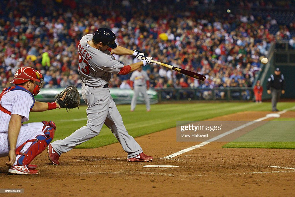David Freese #23 of the St. Louis Cardinals hits a double in the seventh inning against the Philadelphia Phillies at Citizens Bank Park on April 18, 2013 in Philadelphia, Pennsylvania. The Cardinals won 4-3.