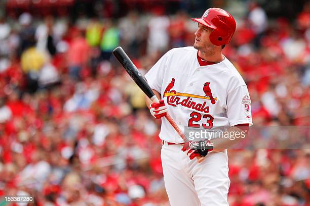 David Freese of the St Louis Cardinals reacts to a fouled off pitch against Washington Nationals in the second inning on September 30 2012 at Busch...
