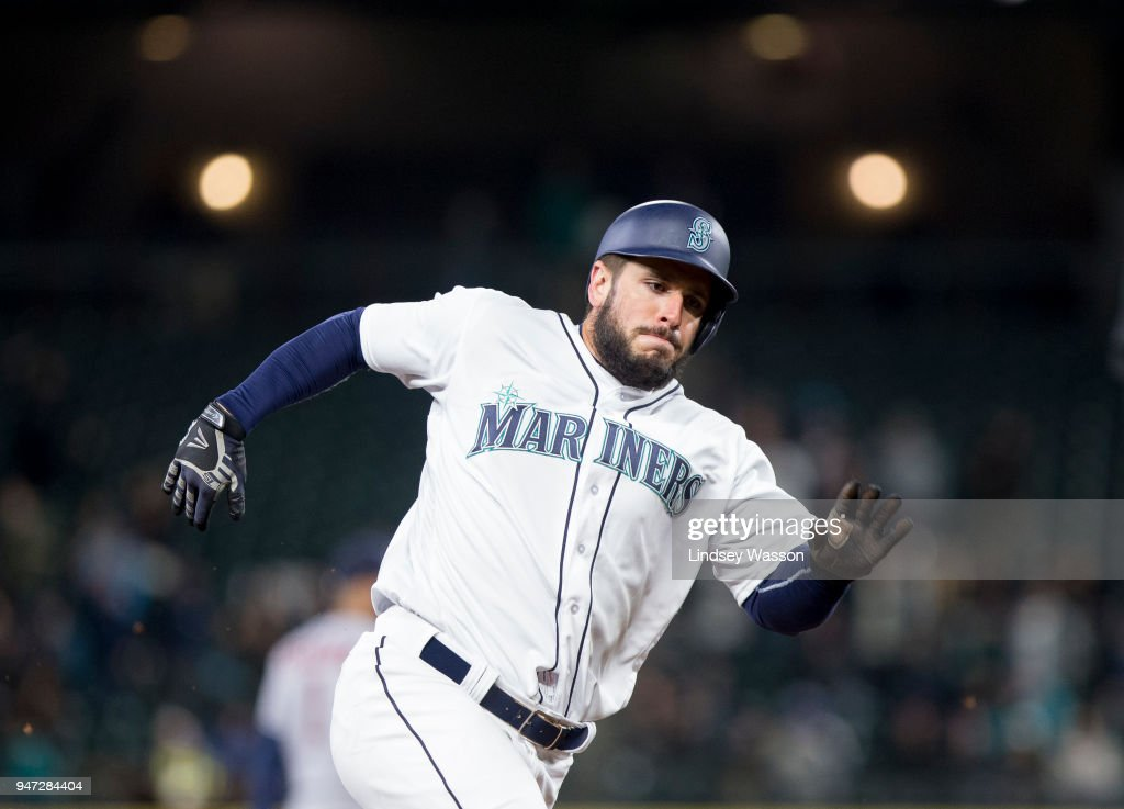 David Freitas #36 of the Seattle Mariners rounds third base and goes on to score on a double by Dee Gordon #9 in the sixth inning against the Houston Astros at Safeco Field on April 16, 2018 in Seattle, Washington. The Seattle Mariners beat the Houston Astros 2-1.