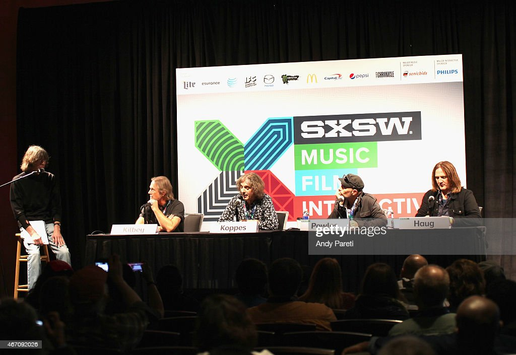David Fricke, Steve Kilbey, Peter Koppes, Tim Powles, and Ian Haug speak onstage at 'SXSW Interview: The Church' during the 2015 SXSW Music, Film + Interactive Festival at Austin Convention Center on March 20, 2015 in Austin, Texas.