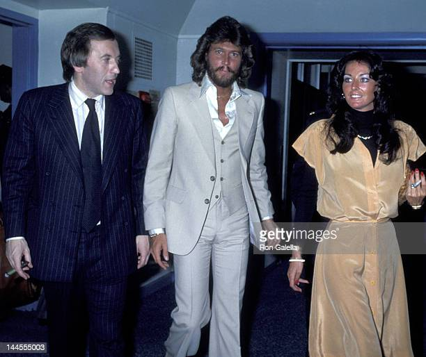 """David Frost, Barry Gibb and wife Linda Gibb attend the taping of """"The David Frost Show"""" on May 16, 1978 in New York City."""