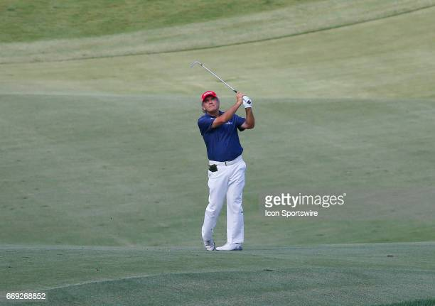David Frost hits off the 18th fairway during the final round of the Mitsubishi Electric Classic tournament at the TPC Sugarloaf Golf Club Sunday...