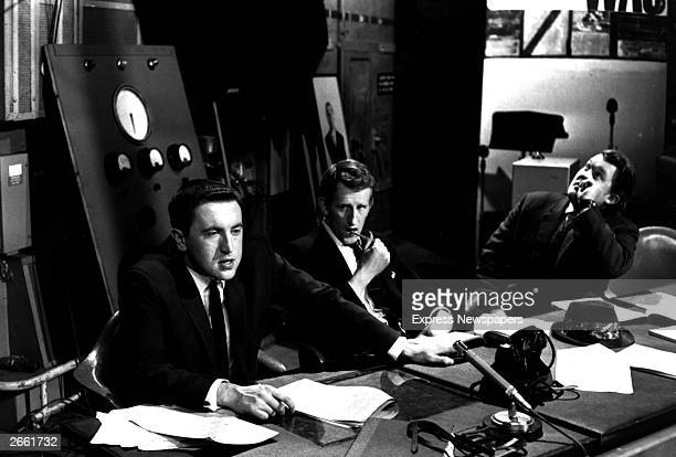 David Frost Lance Percival and Willie Rushton part of the cast of the satirical television programme 'That Was the Week That Was'