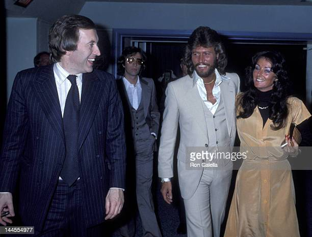 David Frost Robin Gibb Barry Gibb and wife Linda Gibb attend the taping of The David Frost Show on May 16 1978 in New York City