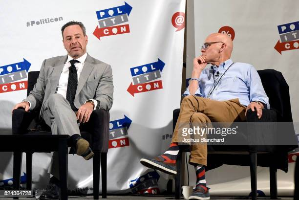 David Frum and James Carville at 'Art of the Campaign Strategy' panel during Politicon at Pasadena Convention Center on July 29 2017 in Pasadena...