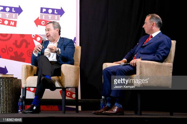 David Frum and Reince Priebus speak onstage during the 2019 Politicon at Music City Center on October 26 2019 in Nashville Tennessee