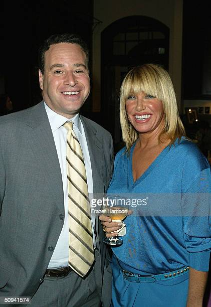 David Frum and Suzanne Somers attend the How To Win The War Against Terrorism A Discussion And Cocktail Party on June 8 2004 in Bel Air California