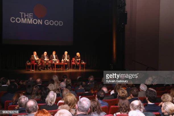 David Frum Ed Rollins Douglas Brinkley Roger Cohen and Dana Perino attend 'Trump Year One' Presidential Panel on January 17 2018 in New York City