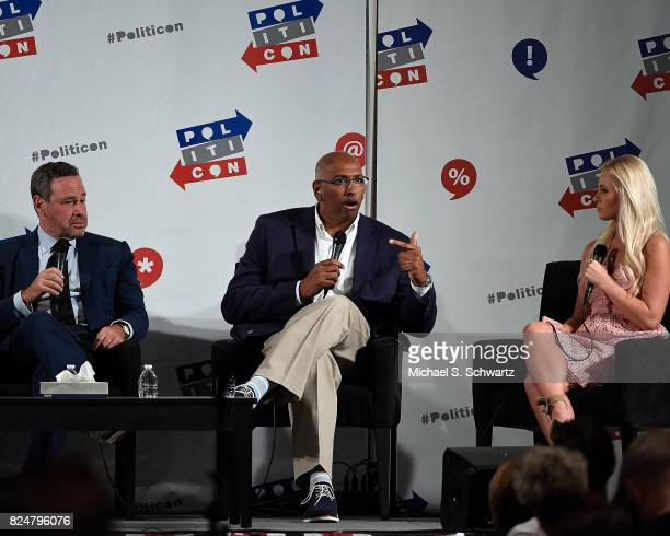 David Frum Michael Steele and Tomi Lahren at the 'Now What Republicans' panel during Politicon at Pasadena Convention Center on July 30 2017 in...