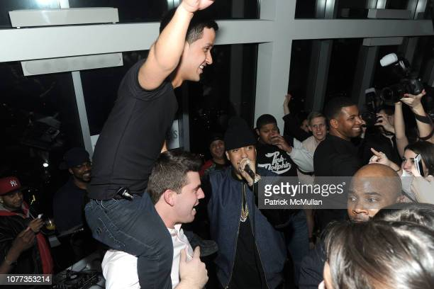 David Funes Billy McFarland and French Montana attend The MAGNISES Launch Party at 107 Rivington St on March 1 2014 in New York City