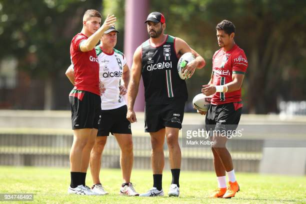 David Furner speaks to Adam Doueihi Dane Gagai and Greg Inglis during a South Sydney Rabbitohs NRL Training Session at Redfern Oval on March 20 2018...