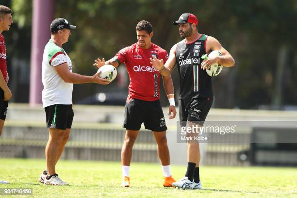 David Furner speask to Dane Gagai and Greg Inglis during a South Sydney Rabbitohs NRL Training Session at Redfern Oval on March 20 2018 in Sydney...