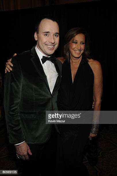 NEW YORK APRIL 08 David Furnish and Designer Donna Karen in the green room at the Waldorf Astoria during The Breast Cancer Research Foundation's...