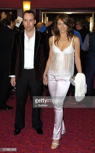 David Furnish and Elizabeth Hurley during Mary Poppins Gala Evening Inside Arrivals at Prince Edward Theatre in London Great Britain