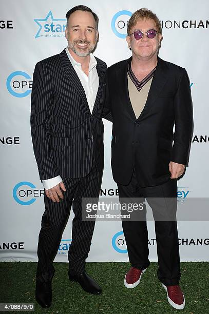David Furnish and Elton John attend Operation Change for your consideration reception and screening at the Zanuck Theater at 20th Century Fox Lot on...