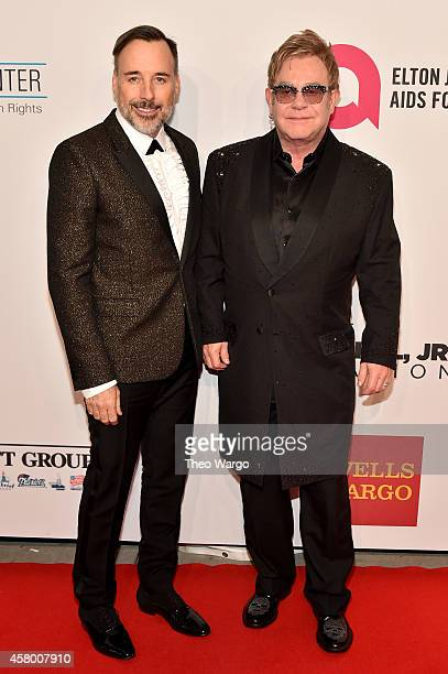 David Furnish and Elton John attend the Elton John AIDS Foundation's 13th Annual An Enduring Vision Benefit at Cipriani Wall Street on October 28,...