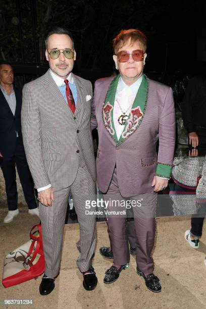 David Furnish and Elton John attend the Gucci Cruise 2019 show at Alyscamps on May 30 2018 in Arles France