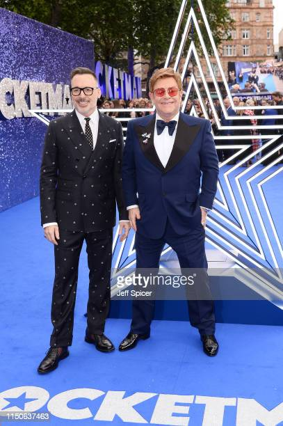 David Furnish and Elton John attend the Rocketman UK Premiere at Odeon Leicester Square on May 20 2019 in London United Kingdom