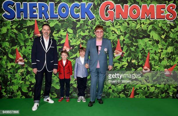 David Furnish and Elton John with sons Elijah and Zachary attending the 'Sherlock Gnomes' London Family Gala hosted by Sir Elton John and David...