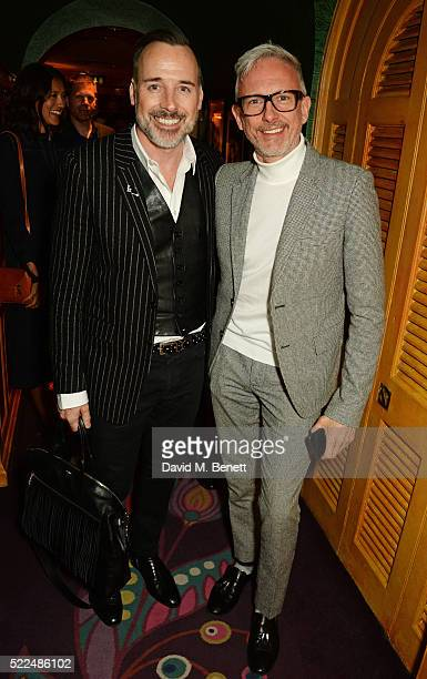 David Furnish and Patrick Cox attend a dinner at Annabel's to celebrate the premiere of 'Mapplethorpe Look At The Pictures' on April 19 2016 in...