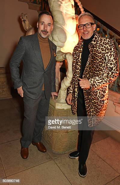 David Furnish and Patrick Cox attend the London Collections Men AW16 opening party hosted by the British Fashion Council and GQ Editor Dylan Jones at...