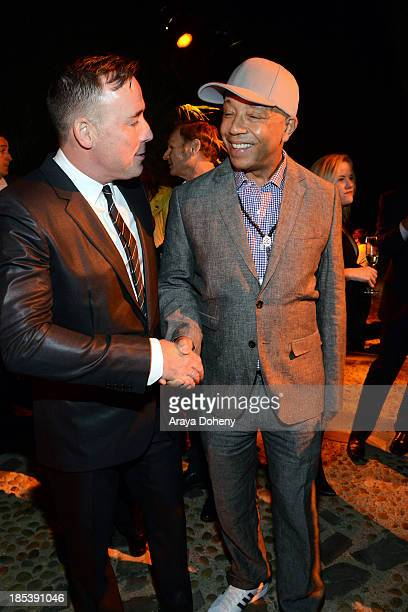 David Furnish and Russell Simmons attend An Evening Under The Stars Benefiting The LA Gay Lesbian Center on October 19 2013 in Los Angeles California
