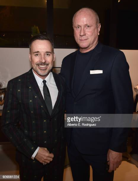 David Furnish and Scott P. Campbell attend a cocktail party hosted by the Elton John AIDS Foundation and BBVA Compass to celebrate EJAF, the 90th...