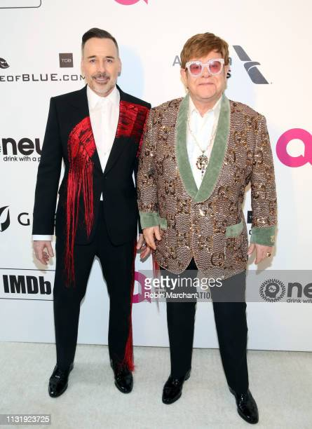 David Furnish and Sir Elton John attend 27th Annual Elton John AIDS Foundation Academy Awards Viewing Party Celebrating EJAF And The 91st Academy...