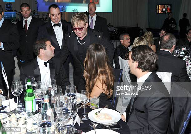 David Furnish and Sir Elton John attend the 20th Annual Elton John AIDS Foundation Academy Awards Viewing Party at The City of West Hollywood Park on...