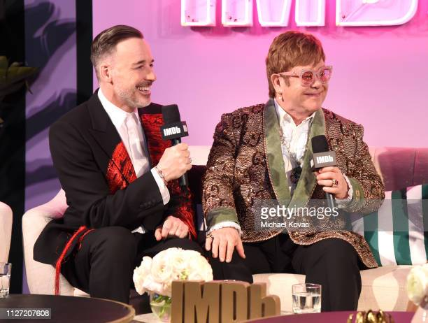 David Furnish and Sir Elton John attend the 27th annual Elton John AIDS Foundation Academy Awards Viewing Party sponsored by IMDb and Neuro Drinks...