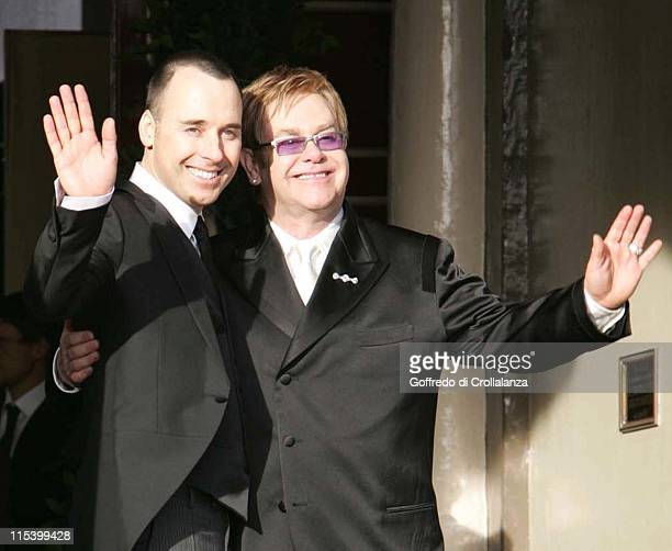 David Furnish and Sir Elton John during Sir Elton John and David Furnish's Civil Partnership Ceremony at Guildhall in Windsor Great Britain