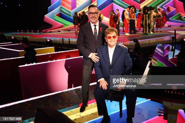 David Furnish and Sir Elton John pose during The BRIT Awards 2021 at The O2 Arena on May 11, 2021 in London, England.