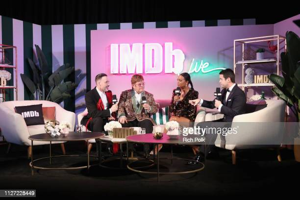 David Furnish Elton John and hosts Aisha Tyler and Dave Karger attend IMDb LIVE At The Elton John AIDS Foundation Academy Awards® Viewing Party on...
