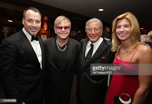 David Furnish Elton John Tony Bennett and Susan Crow attend the 2012 Vanity Fair Oscar Party Hosted By Graydon Carter at Sunset Tower on February 26...